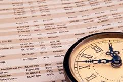 Horloge sur le papier financier Photo libre de droits