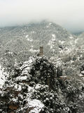 Horloge sur une montagne neigeuse Photographie stock