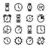 Horloge, temps, pictogrammes de vecteur de chronomètre Photos stock