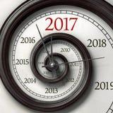 Horloge tordue de l'année 2017 Photographie stock libre de droits