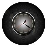Horloge zwart pictogram op witte achtergrond Vector illustratie Stock Afbeeldingen