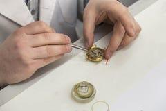 Horloger, réparation des montres, empêchant l'horloge, nettoyant l'horloge Images stock