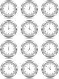 Horloges argentées Photos stock