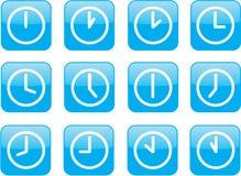 Horloges bleues lustrées Images stock
