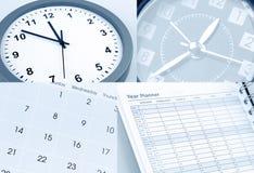 Horloges, calendrier et planificateur d'année Photos libres de droits