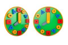 Horloges colorées de jouet rendu 3d Images libres de droits