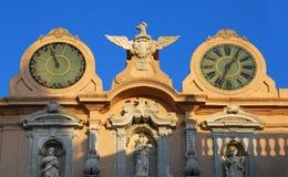 Horloges d'hôtel de ville de Trapani Photographie stock