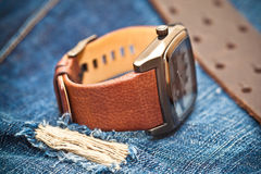 Horloges en jeans Royalty-vrije Stock Foto