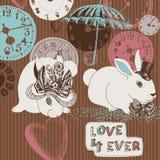 Horloges, lapins et amour Photos stock