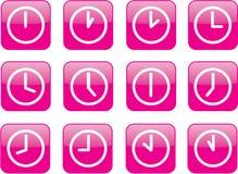 Horloges roses lustrées Photos stock