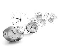Horloges sur le blanc Photo libre de droits