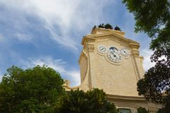 Horloges, ville de patrimoine mondial de l'UNESCO de La Valette Images stock