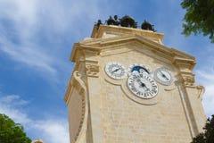 Horloges, ville de patrimoine mondial de l'UNESCO de La Valette Photographie stock