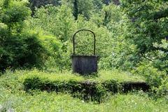 Hormigón viejo bien con el arco del metal rodeado totalmente con la vegetación forestal overgrown imagenes de archivo