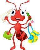 Hormiga con las fuentes de escuela ilustración del vector