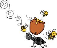 Hormiga que lleva un pote de miel con las abejas stock de ilustración