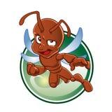 Hormiga roja de la historieta con las alas Fotos de archivo