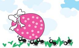 Hormigas con el huevo de Pascua ilustración del vector