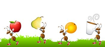 Hormigas de la historieta que llevan los bocados Foto de archivo libre de regalías