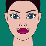 Hormonal imbalance, high testosterone. Mustache have women, hormonal imbalance, high testosterone, moustache have girls, cosmetic defect. Vector illustration vector illustration