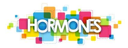 HORMONbaner på färgrik fyrkantbakgrund royaltyfri illustrationer