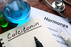 Hormone  calcitonin written on notebook. Royalty Free Stock Photos