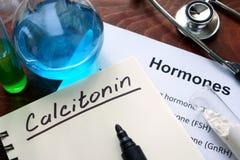 Hormone  calcitonin written on notebook. Royalty Free Stock Photos