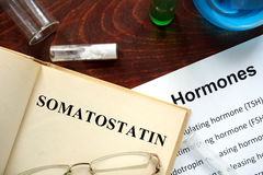 Hormone somatostatin written on book. Stock Images