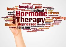 Free Hormone Therapy Word Cloud And Hand With Marker Concept Stock Photo - 133804010