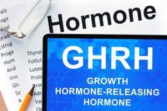 Hormones list with GHRH Stock Photo