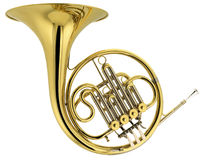 Horn. Brass horn on white background Stock Photography