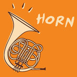Horn vector. Illustration of a french horn, retro style + vector eps file vector illustration