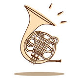 Horn vector. Illustration of a french horn isolated on white + vector eps file Royalty Free Stock Images