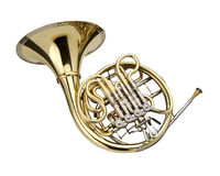 Horn. Wind instrument. On a whithe background stock photo