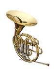 Horn. Wind instrument. On a whithe background stock image