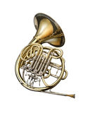 Horn. Wind instrument. On a whithe background royalty free stock photo