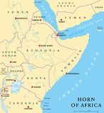 Horn of Africa Political Map. Horn of Africa peninsula political map with capitals, national borders, important cities, rivers and lakes. In ancient times called Stock Photography