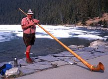 Horn Blower at Lake Louise. Stock Photography