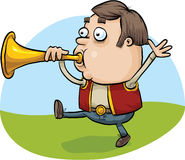 Horn Blowing Man. A cartoon man blowing a brass horn royalty free illustration