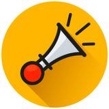 Horn circle orange flat icon. Illustration of horn circle orange flat icon stock illustration