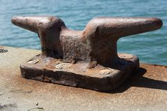 Horn cleat on a dock Royalty Free Stock Image