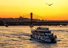 Horn dorato al tramonto, Costantinopoli Fotografia Stock