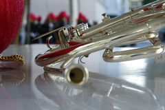 Horn from fanfare. Instrument of music,horn from fanfare stock photo