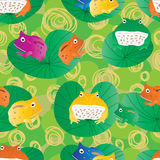 Horn frog cute seamless pattern Stock Photos