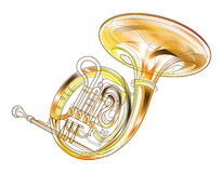 Horn Gold Brass Instruments  Royalty Free Stock Image