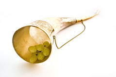 Horn and grape. In white Royalty Free Stock Image