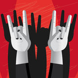 Horn hand sign of rock and metal music Stock Images