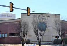 Horn Lake Mississippi City Hall. Horn Lake is a great place to visit. We are a vibrant city. With beautiful natural areas. Beautiful walking areas. State of the royalty free stock photos
