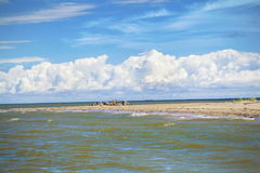 Horn of land in the sea. In summer day stock photos