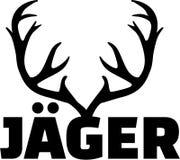 Horn på kronhjort med jägareordtysk stock illustrationer